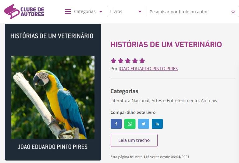 livro histórias de um veterinário João Eduardo